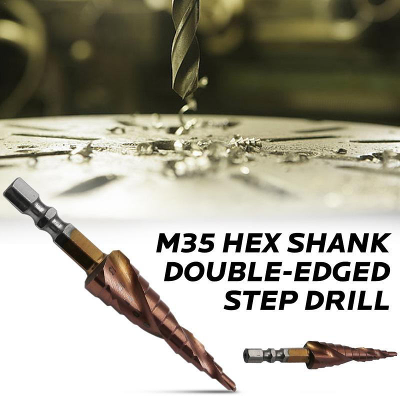 M35 Stainless Steel Hex Shank With Cobalt Double-edged Step Metal Drill Bit 3-13mm Hole Saw For Carpentry Tools