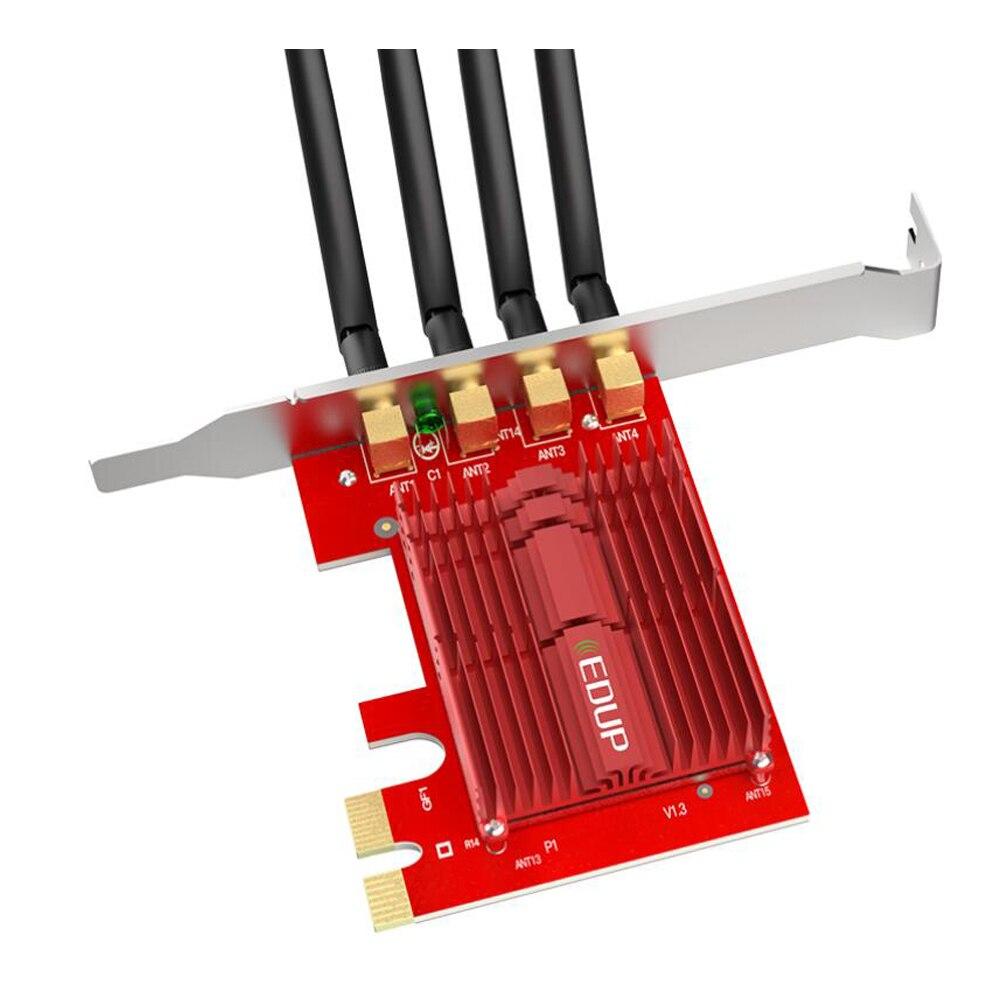 EDUP 2.4/5 Ghz double bande 1900 Mbps PCI Express adaptateur WiFi sans fil 802.11AC carte réseau PCI-E antennes 4 * 5dBi pour Win 7/8. 1/10 - 4