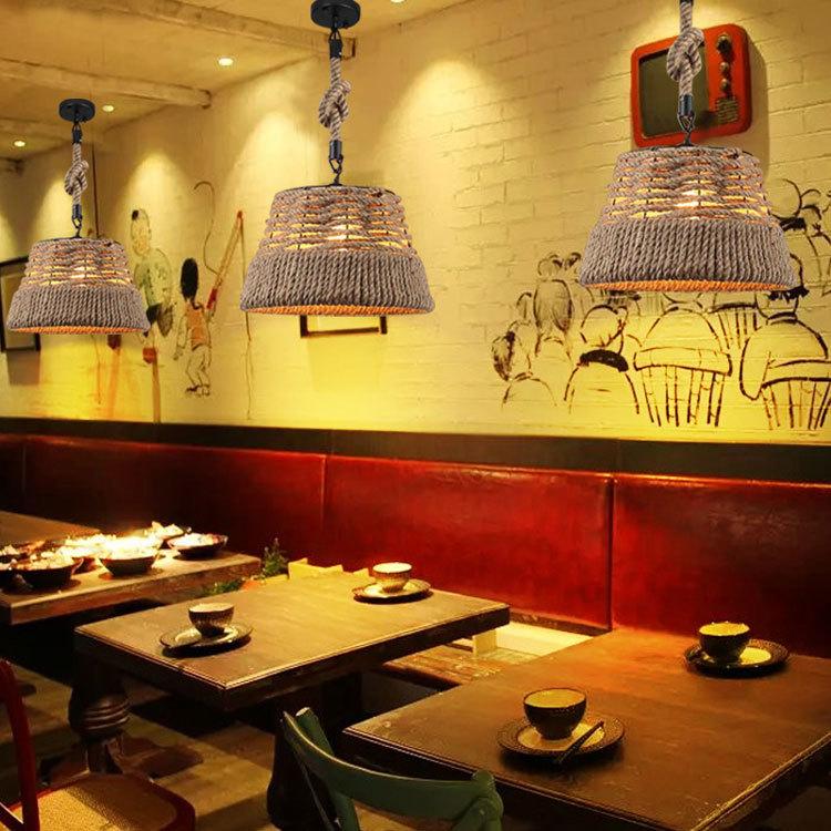 Loft Vintage Rural Pendant Lights Hemp Rope Bamboo Iron Cage Pendant Lamps Hand Knitted Lighting Fixtures Restaurant Dining Pendant Lights     - title=