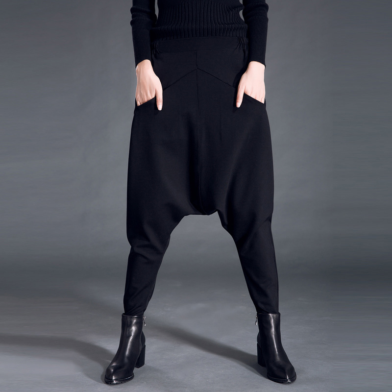[EAM] 2019 New Autumn Winter High Elastic Waist Black Pocket Split Joint Leisure Loose Harem Pants Women Trousers Fashion JS499
