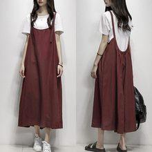 Plus Size Summer Dress 2019 ZANZEA Women s Sundress Female Strap Overalls  Vestidos Vintage Linen Midi Dress 1af9f9cbcd0b