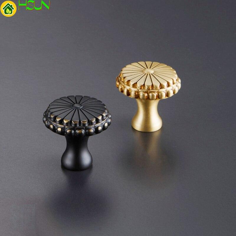 Настоящие цветы Твердый латунный круглый шкаф двери ручки Мебель Шкаф Ручка для гардеробного шкафа золотые ручки C-1077