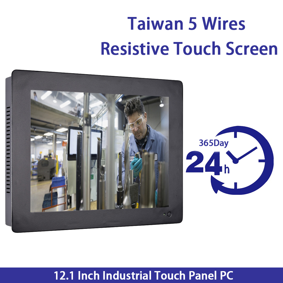 12.1 Inch Industrial Touch Panel PC,Taiwan High Temperature 5 Wire Touch Screen,Intel 3855U,Wins 7/10,Linux,[HUNSN DA12W]