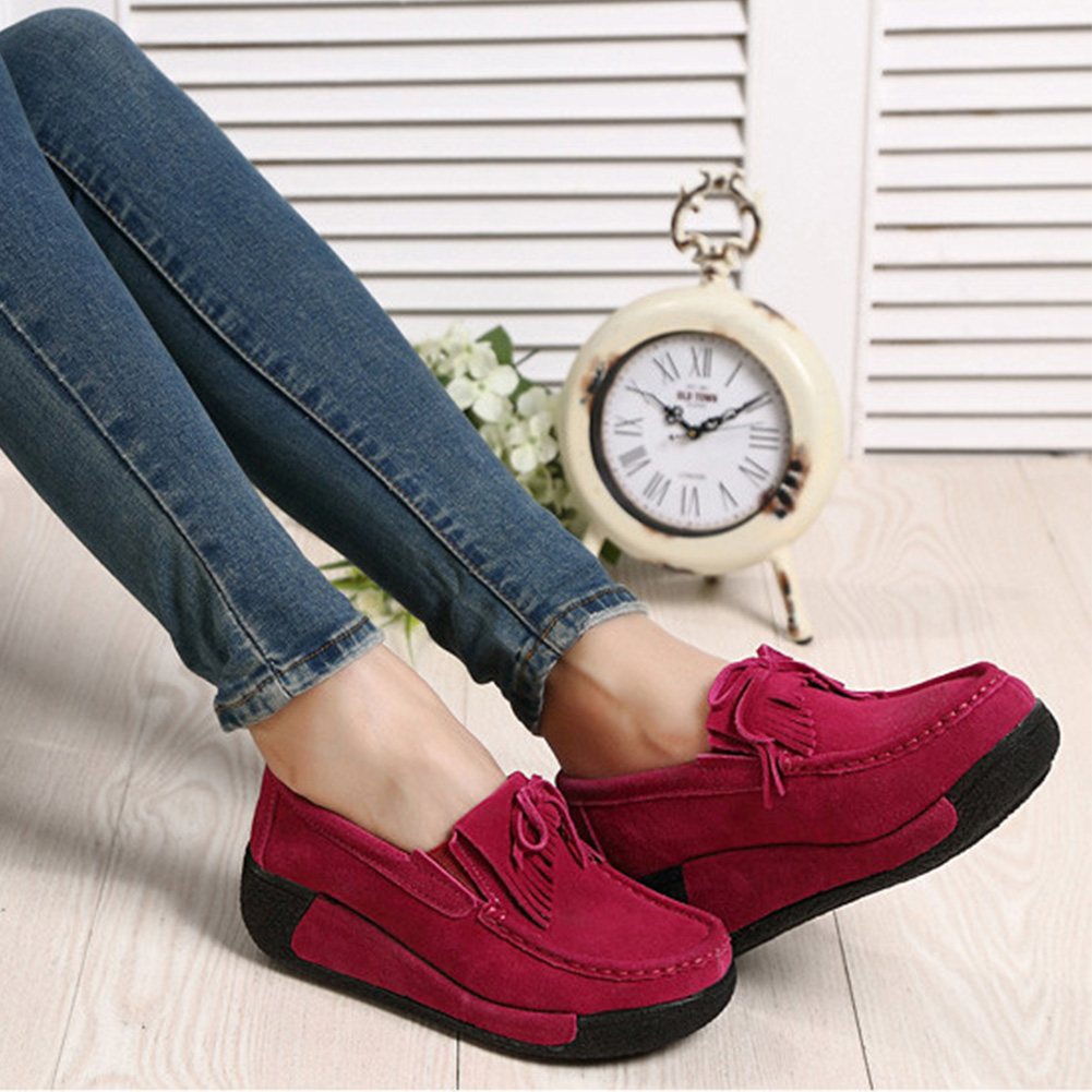 YJSFG HOUSE Women Flat shoes   Suede   Platform Loafers Elegant Fringe Tassel Moccasins Shoes Slip On Wedge Casual Women Shoes
