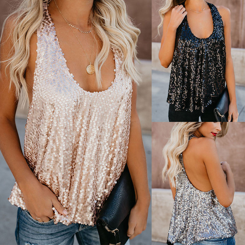 Women Ladies Sequined Bling Shiny Sleeveless Tank Tops Fashion Summer Backless Vest Tank Tops