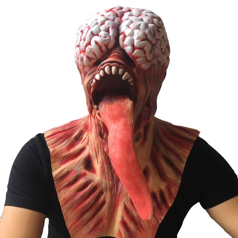Halloween Horror Zombie Mask Haunted House Scary Bloody Tricky Latex Eye Mask Cosplay Rotten Resident Evil Long Tongue Wholesale