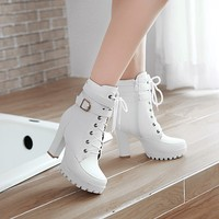 High Heels Women Ankle Boots Lace Up Fall Winter Platform Ladies Boots Large Size Fashion Shoes White Black Brown
