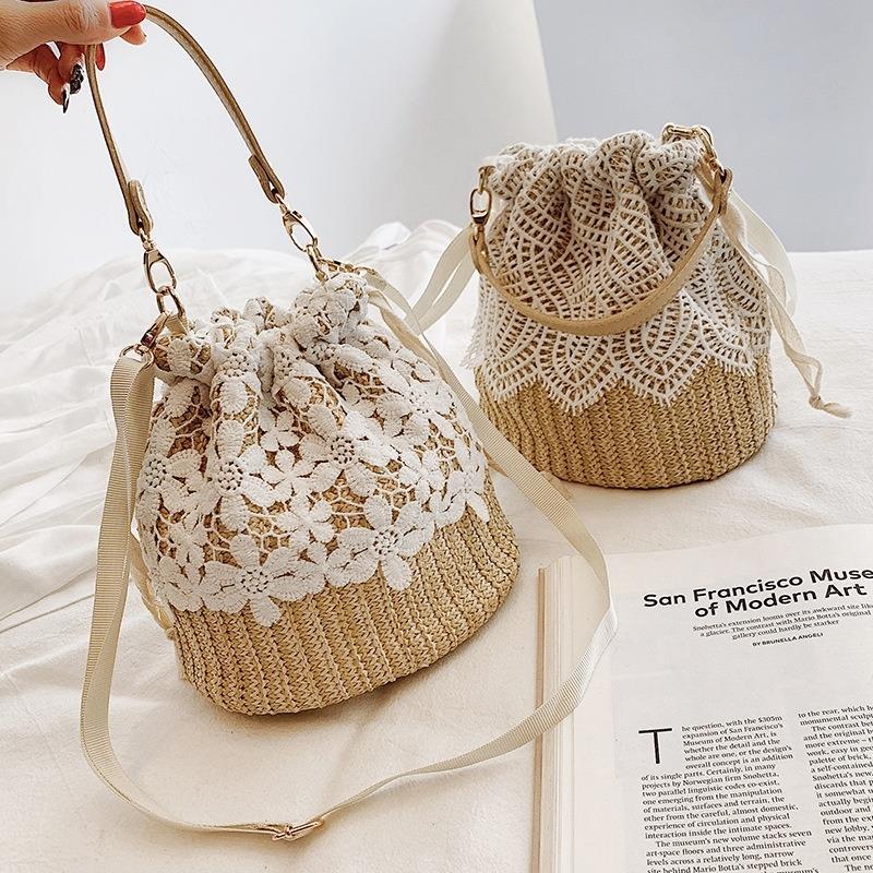 Women Handbag Travel-Bags Straw Rattan-Shoulder-Bag Lace Drawstring Crossbody Fashion