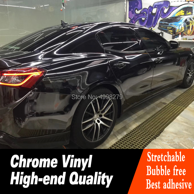 Highest quality black stretchable Mirror Chrome Vinyl Wrap Car Wrapping Chrome Film Chrome Green Foil Air Bubble Free