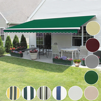 Panana Manual 3x2.5m Awning Canopy Outdoor Patio Garden Sun Shade Shelter Top Fabric Green Fast delivery