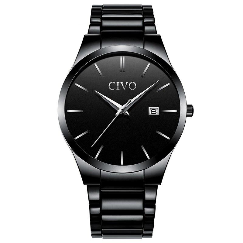 CIVO de luxe affaires hommes montres étanche montre à Quartz pour hommes avec calendrier de Date noir en acier inoxydable montre-bracelet horloge