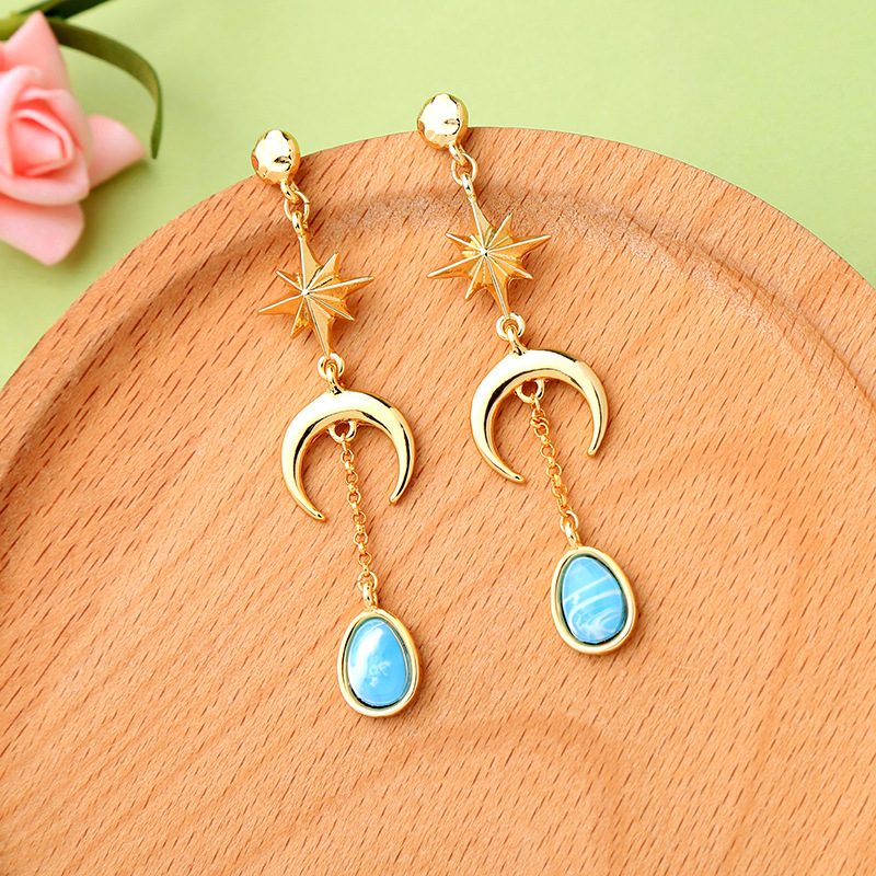 2018 New Fashion Brincos Oorbellen Bijoux Crystal Rhinestone Hollow Star Moon Water Drop Hanging Earrings Ladies Fashion Jewelry