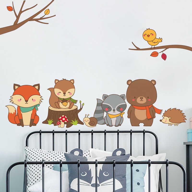 Tofok Forest Animal Wall Sticker Baby Fox Bear Cartoon Diy Kids Room Home Decor