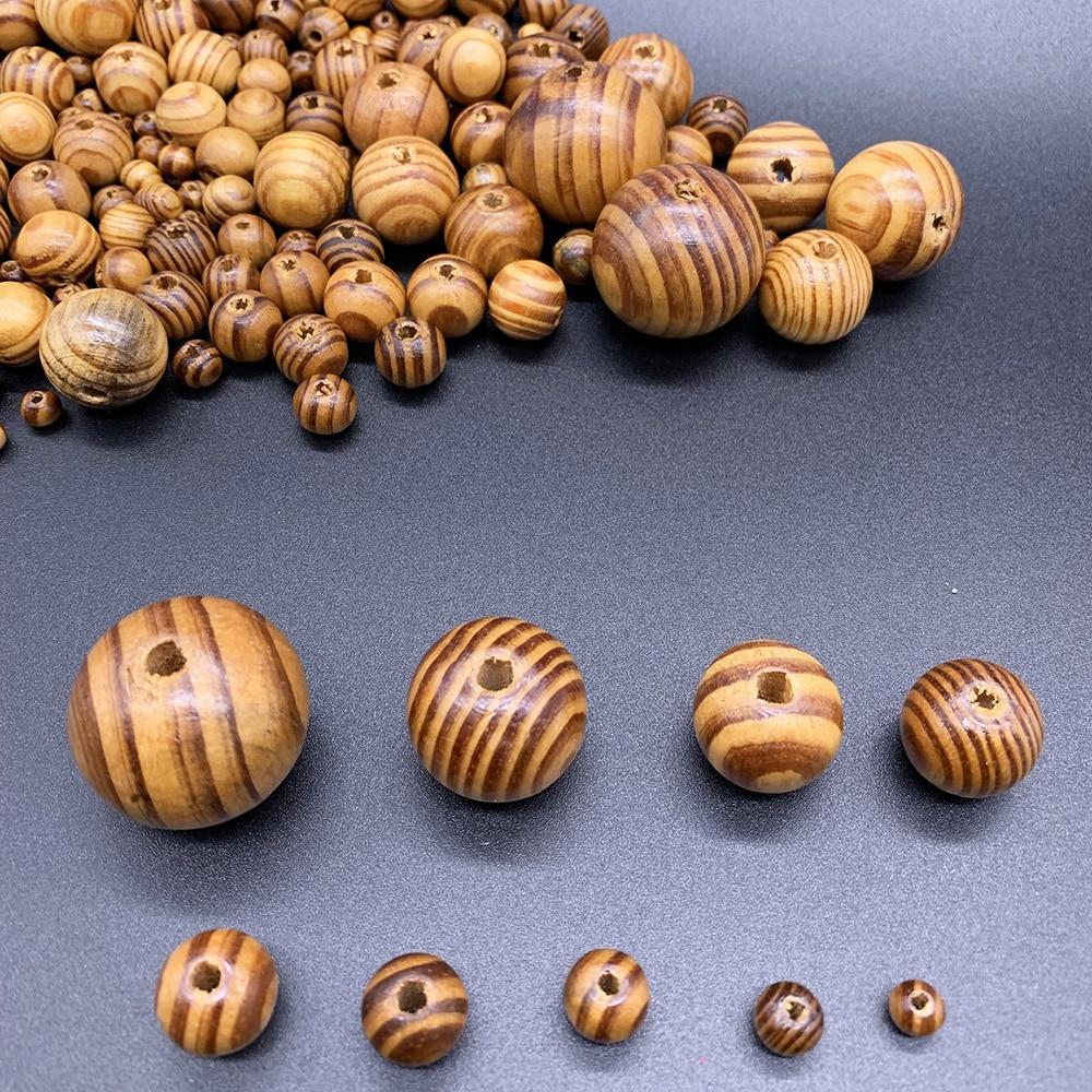 Der GroßEr Ausverkauf Perlen & Schmuck Machen Schmuck & Zubehör Vereinigt 6-30mm Natürliche Kiefer Runde Spacer Holz Lose Perlen Handgemachte Streifen Holz Perle Für Diy Halskette Armband Schmuck