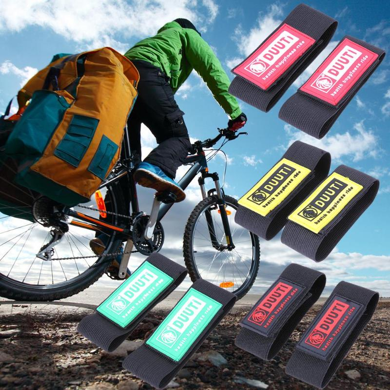 2Pcs Bike Safety Bicycle Bind Trousers Pants Band Leg Strap Hook /&Loop Black