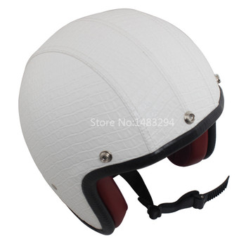 Motorcycle White 3/4 Open Face Bobber Leather Safety Helmet Scooter ATV Off Road M Universal