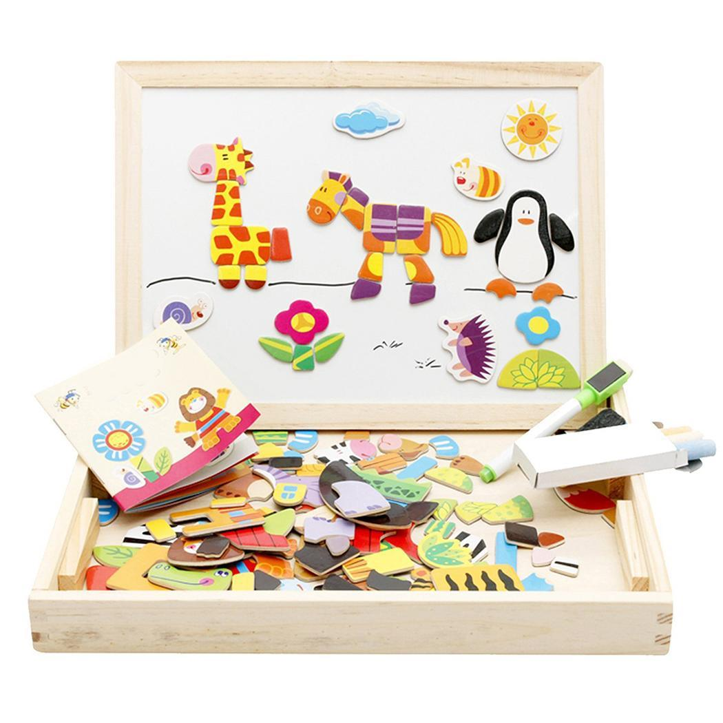 Children Learn Toys Magnetic Drawing Board Easel Animal Wooden Puzzle Set Above 3 years old About 0 8 Kg Multi