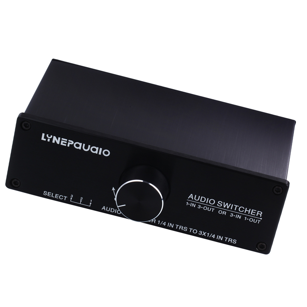 1x3 / 3x1 Audio Switcher Passive Preamp Stereo Speaker Distributor Selector eu us 1 in 4 audio signal switcher amplifier preamp hifi for headset speaker compact preamp 4 channel stereo microphone