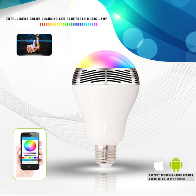 2016 Smart LED Bulb Speaker Bluetooth RGB Multi Color Light Lamp E27 Base Wireless Music Player with APP Remote Control 220V