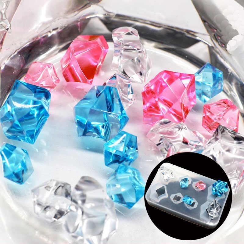 1PC קרח קוביית יהלומים בצורת תכשיטי כלי תכשיטי עובש UV אפוקסי שרף סיליקון תבניות להכנת תכשיטים