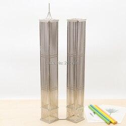 KOSTENLOSER VERSAND J33 WORLD TRADE CENTER TWIN TOWERS/MODELL EDELSTAHL HAND-MADE KUNST HANDWERK HOCHZEIT & GEBURTSTAG & HOME & OFFICE & GESCHENK & VORHANDEN