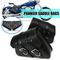 Pair Universal Motorcycle Saddlebags PU Leather Storage Tool Pouch Luggage Side Bag For Harley Davidson Cruiser