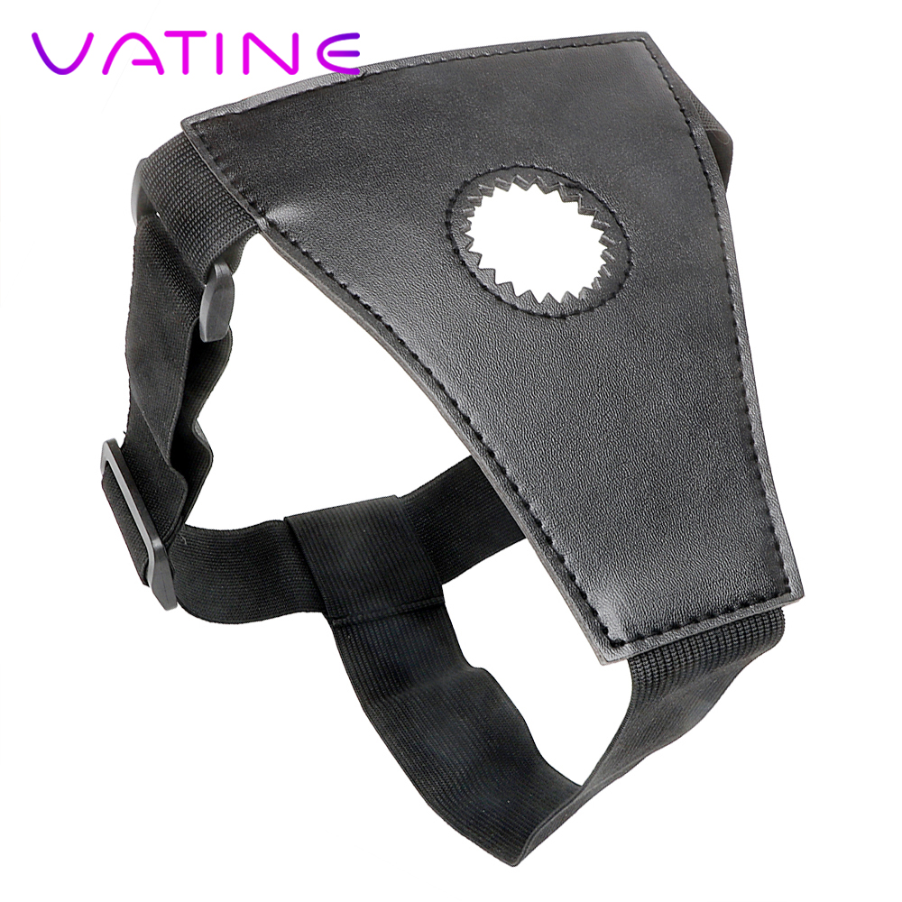 VATINE Strap On Dildos Pants <font><b>Strapon</b></font> Penis Panties <font><b>Sex</b></font> <font><b>Toys</b></font> for Lesbian Gay <font><b>Adult</b></font> Game Black Leather Wearable image