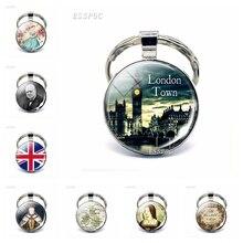 England Big Ben Keychain British London Souvenir Gift United Kingdom Flag Map Elizabeth Churchill Glass Cabochon Key Chain Rings