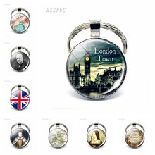 England Big Ben Keychain British London Souvenir Gift United Kingdom Flag Map Elizabeth Churchill Glass Cabochon Key Chain Rings(China)