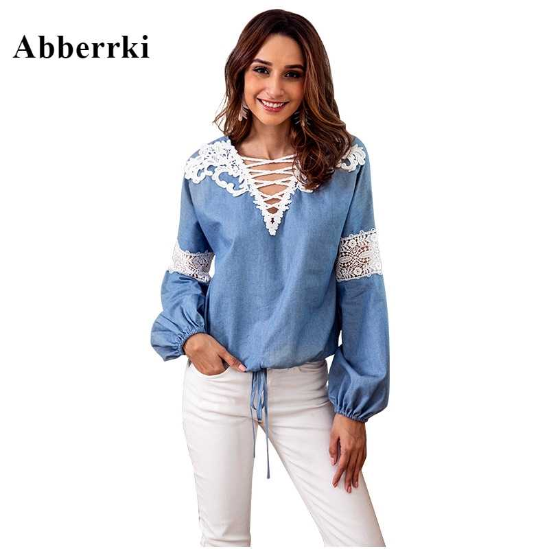 Осенняя Блуза женская джинсовая синяя женская одежда топы и блузки v-образный вырез Кружевная аппликация длинный рукав рубашка блузка Femme