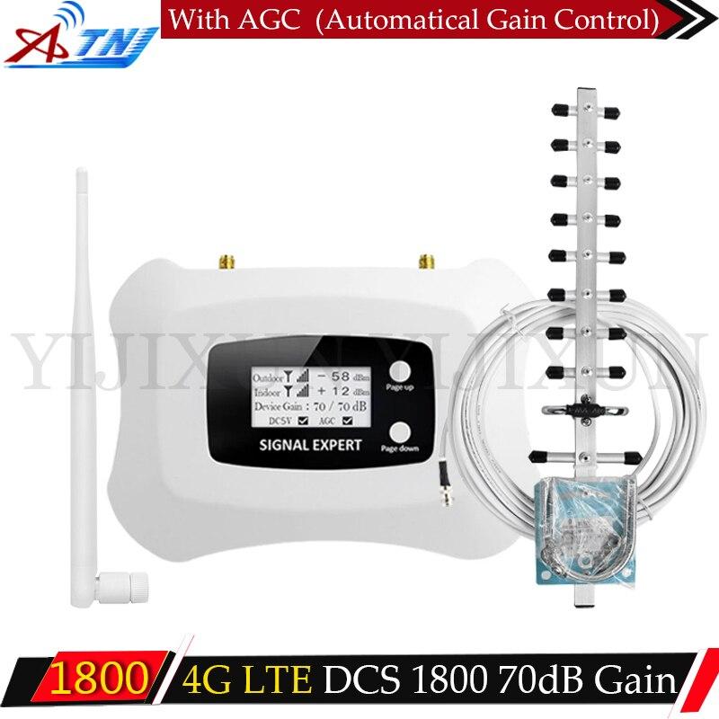 ATNJ GSM LTE 1800 LCD 70dB Gain 2G 4G répéteur de Signal de téléphone portable DCS 1800 MHz amplificateur Mobile amplificateur de Signal GSM antenne 2G 4G