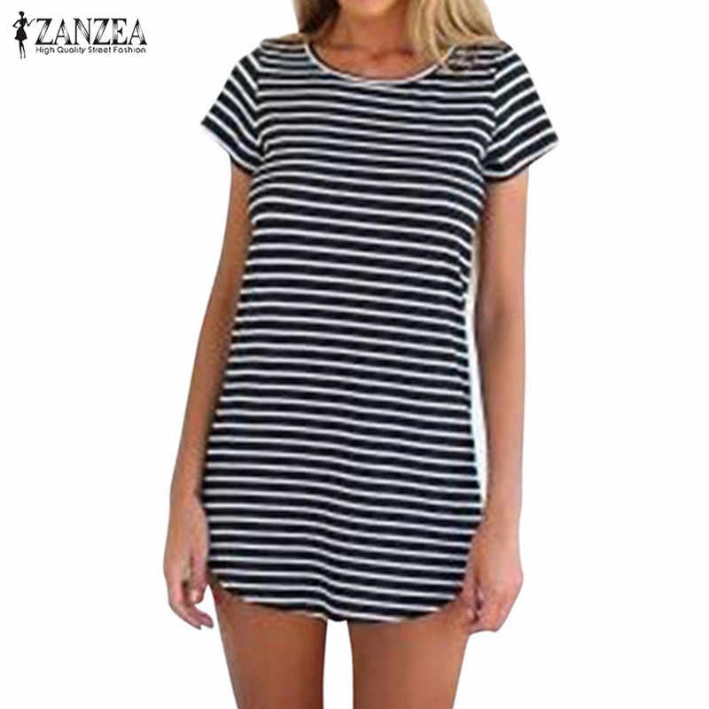 여름 스트라이프 티 셔츠 드레스 여성 Sundress ZANZEA 2020 Casula 불규칙 미니 드레스 여성 짧은 소매 파티 로브 플러스 크기