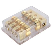 12V 60A Car Auto Stereo Audio Circuit Blade Fuse Holder Box Block 1 in 4 Ways Out  Plastic zinc alloy