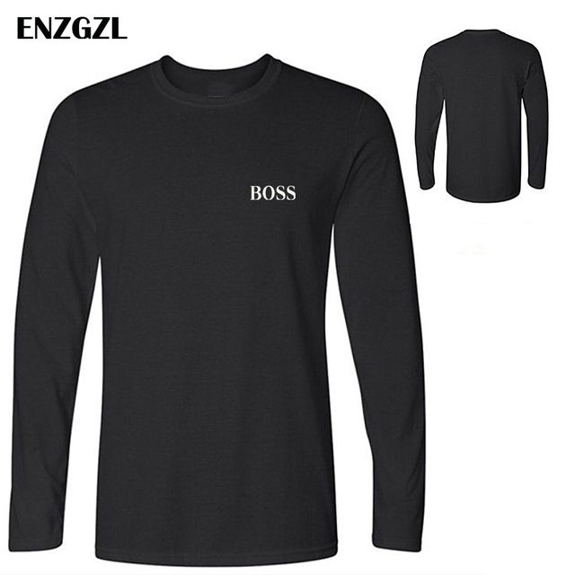 3c5a5c280 ENZGZL T Shirt Mens 100% cotton NEW streetwear T-shirts small BOSS letter  print hip hop Tee LONG Sleeve High Quality Boy Tshirt