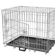 vidaXL 4 Sizes Foldable Metal Dog Houses Bench Folding Metal Dog Crate Foldable Pet Cat Cage Kennel Double-Door M L XL XXL