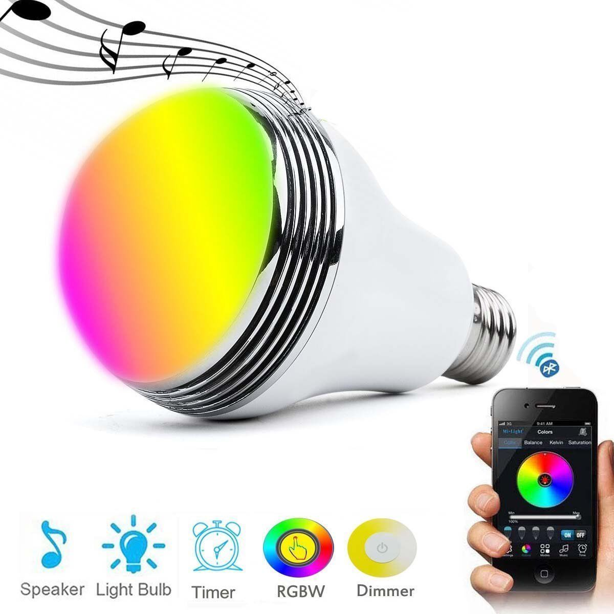 E27 Smart RGB Wireless Bluetooth Speaker Bulb 9W LED Light Music Speaker Timer Player Dimmable Remote Control Music Lamp