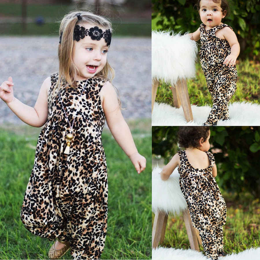 d94bd4946040 Detail Feedback Questions about Leopard Print Baby Girl Clothes Girls Harem  Sleeveless Baby Rompers Jumpsuit Outfits Clothes Summer Casual New Born Baby  ...