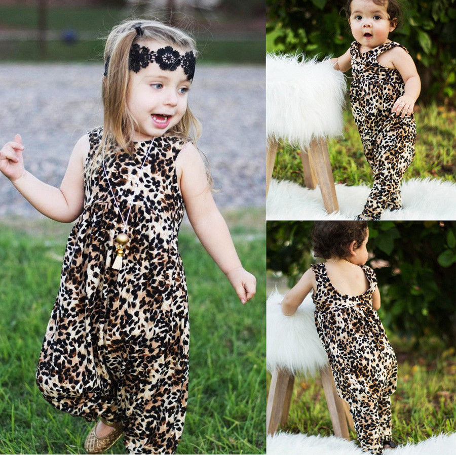 Baby Girls Romper Newborn Baby Girl Clothes Romper Flutter Sleeve Leopard Print Romper Jumpsuit Outfits Set