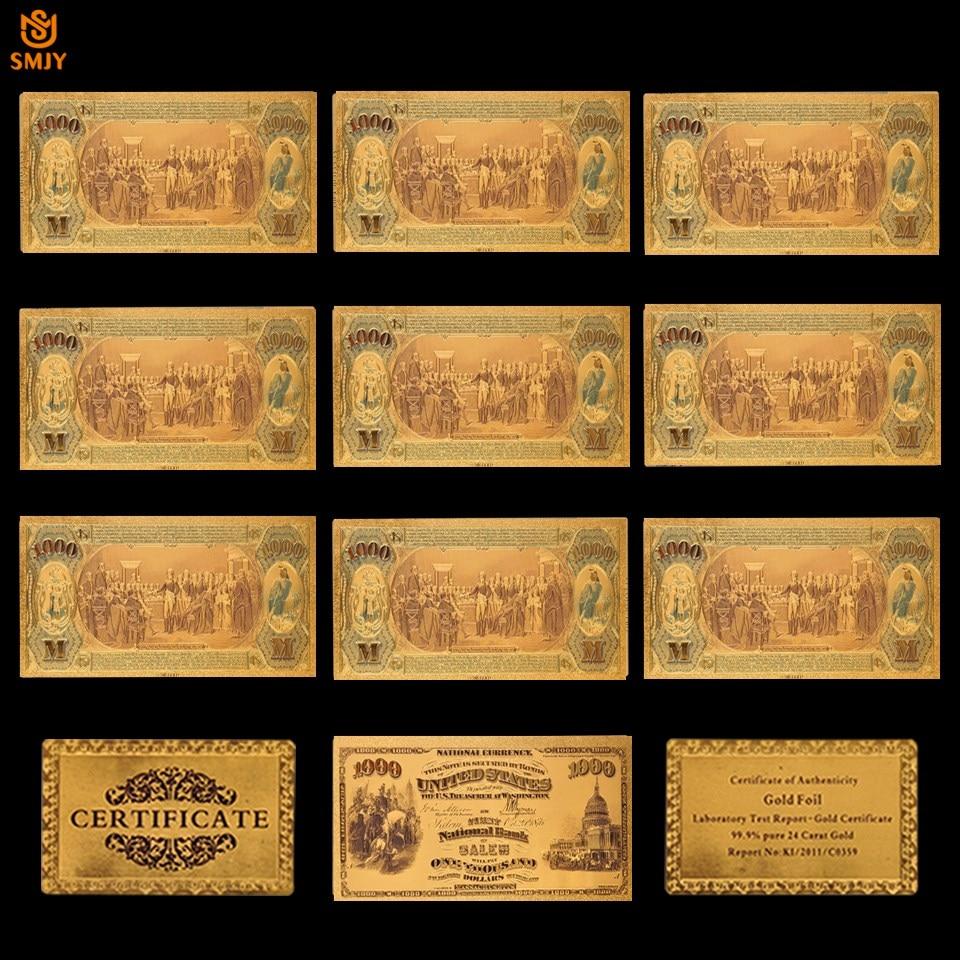 10 Teile/los UNS 1875 Gold Banknoten 1000 USD Banknoten 24k Gold Überzogene Gefälschte Geld Replik Papier Banknoten Für sammlung