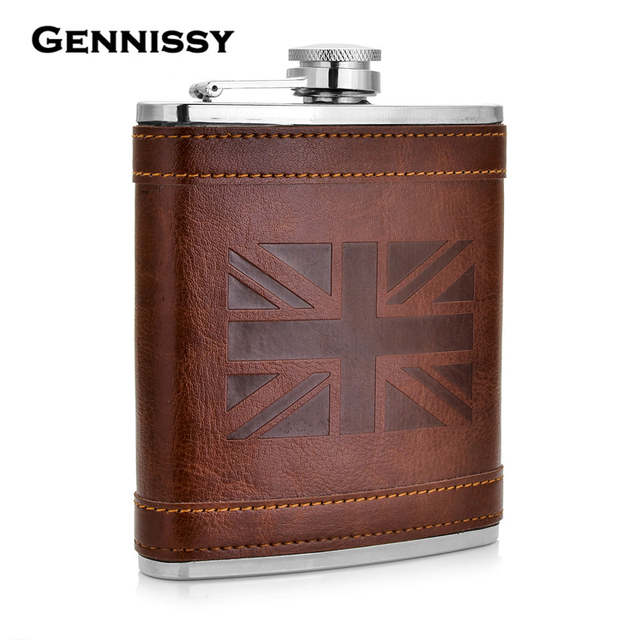 Hip Flask 8oz Union Jack Flasks Stainless Steel With Brown Leather Union Jack