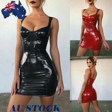 AU Women Sexy Latex Faux Leather Solid Bodycon  Party Cocktail Club Strappy Dresses цена 2017