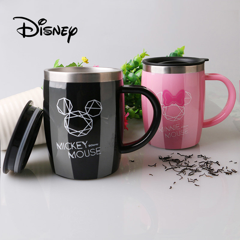 2019 Disney Mug Mickey Mouse Child With Lid Insulation Stainless Handle Cup Office Non-slip Coffee Milk Cups Birthday Gifts
