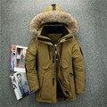 -40 grados resistente al frío Rusia chaqueta de invierno gruesa cálido pato blanco abajo de los hombres abrigo de invierno de alta calidad cuello de piel auténtica