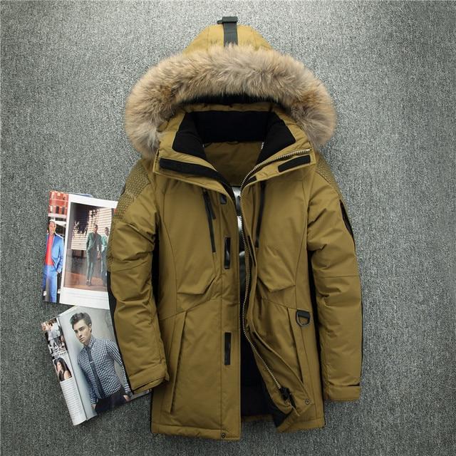 40 درجة الباردة مقاومة روسيا الشتاء سترة سميكة الدافئة الأبيض بطة أسفل الرجال معطف الشتاء الرجال أعلى جودة حقيقية الفراء طوق