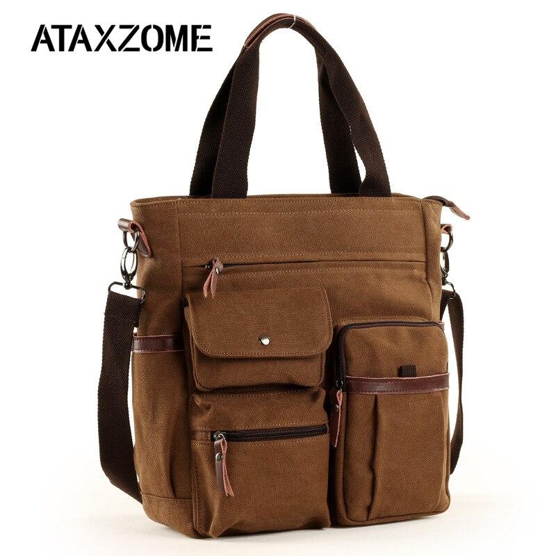 ATAXZOME 2019 Men's Shoulder Bag Premium Waterproof Canvas Briefcase For Men Laptop Work Business Trip Bag For Handle B502