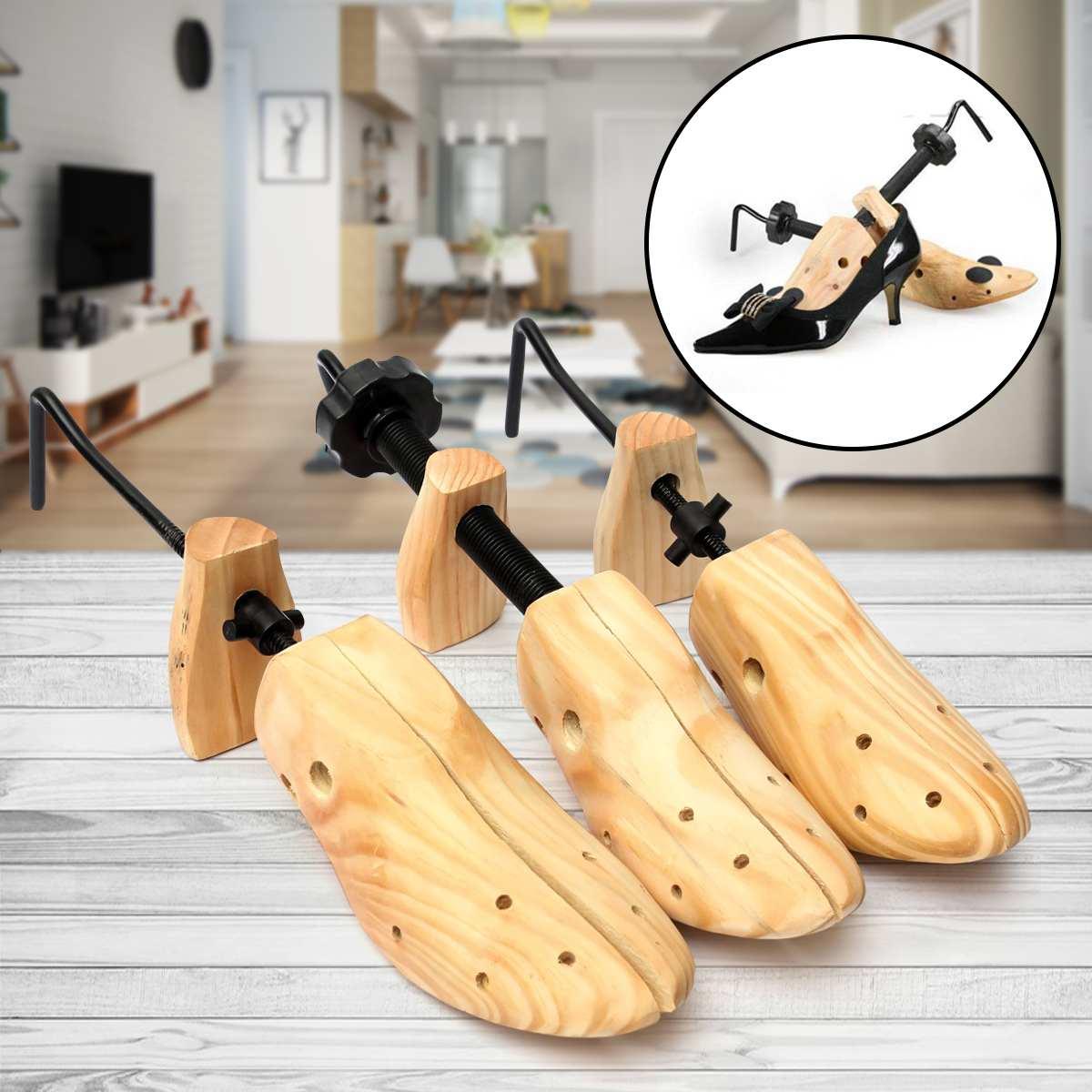Unisex 1 Piece Shoe Stretcher Wooden Shoes Tree Shaper Rack,Wood Adjustable Flats Pumps Boots Expander Trees Size S/M/L