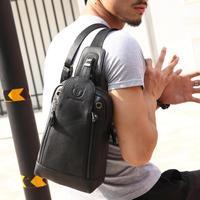 BULLCAPTAIN Men Shoulder Belt Bags Leather Crossbody Phone Waist Chest Pack