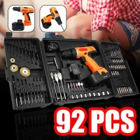 92Pcs 18V Electric Screwdriver Drill Cordless Hand Drill Driver Power Drills Tool Accessories Set Socket Home DIY Power Tool+Box