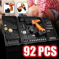 92Pcs 18V Electric Screwdriver Drill Cordless Hand Drill Driver Power Drills Tool Accessories Set Socket Home DIY Power Tool+Box