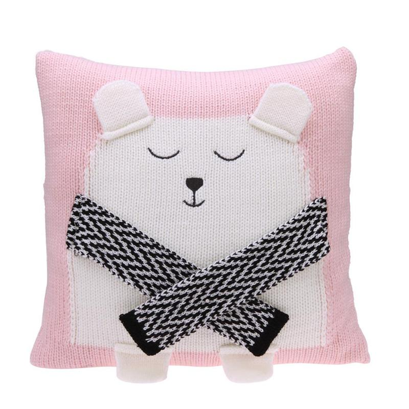 Lovely Chair Seat Cushion Cover Cartoon 3D Bear Knitted Kids Baby Sofa Bed Decorative Pillowcase Photography Props